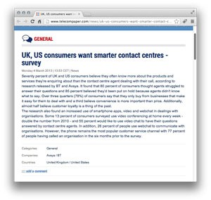 UK, US consumers want smarter contact centres