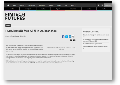 HSBC installs free wi-fi in UK branches