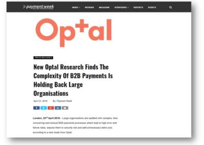 New Optal Research Finds The Complexity Of B2B Payments Is Holding Back Large Organisations