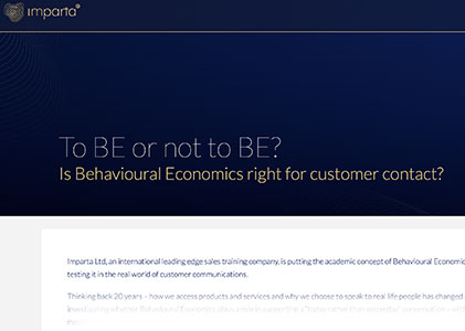Imparta: To BE or not to BE. Applying behavioural economics to retail finance report